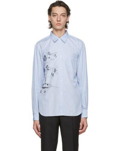 Czarna koszula bawełniana w paski Comme Des Garcons Homme Deux
