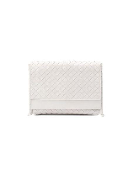 Кожаная белая кожаная сумка со складками Bottega Veneta