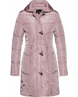 Стеганое пальто розовое на молнии Bonprix