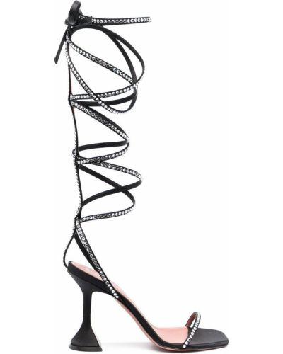 Czarne sandały skorzane sznurowane Amina Muaddi