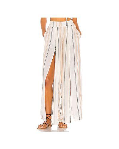 Белые брюки с поясом из вискозы с разрезом Lspace