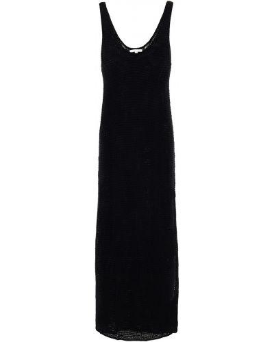 Открытое кожаное черное платье миди Skin