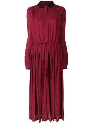 Приталенное шелковое платье макси с воротником Giambattista Valli