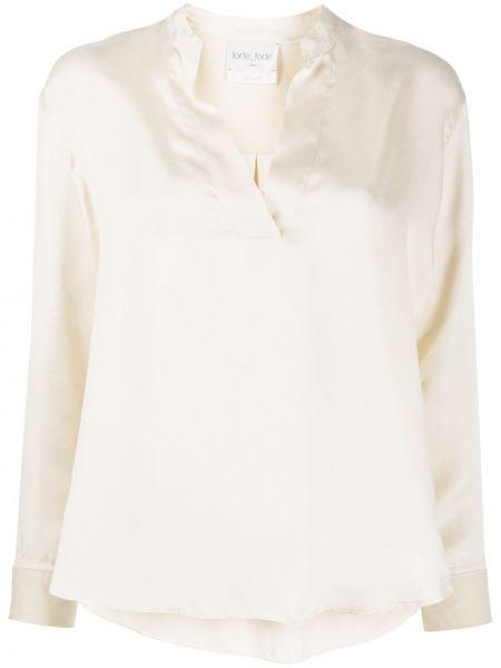 Белая блузка с длинными рукавами с V-образным вырезом Forte Forte
