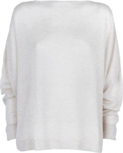 Biały długi sweter oversize z długimi rękawami Dusan