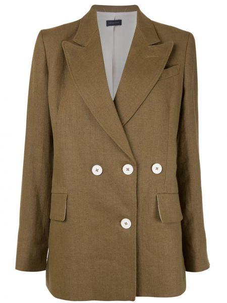 Коричневый пиджак двубортный с карманами Eudon Choi