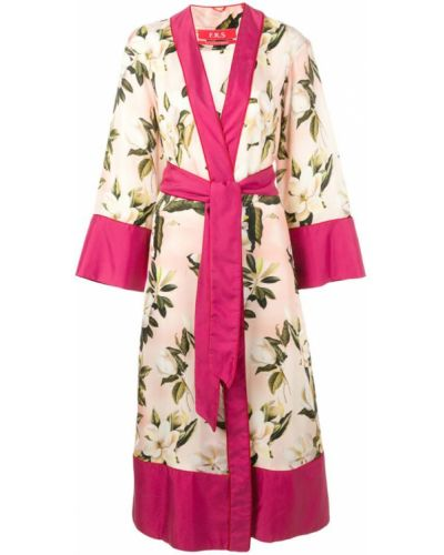 Розовое длинное пальто с капюшоном F.r.s For Restless Sleepers