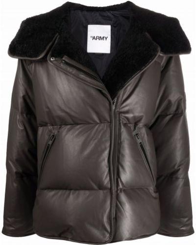 Коричневое пальто на молнии Yves Salomon
