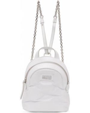 Кожаный рюкзак белый текстильный Maison Margiela