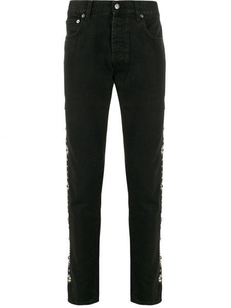 Czarne jeansy skorzane z paskiem Htc Los Angeles
