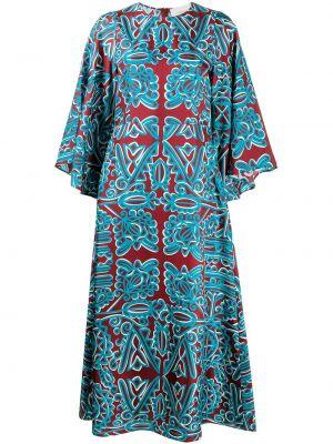 Шелковое с рукавами красное платье макси La Doublej
