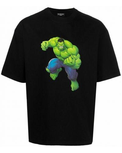 T-shirt z printem - czarna Balenciaga