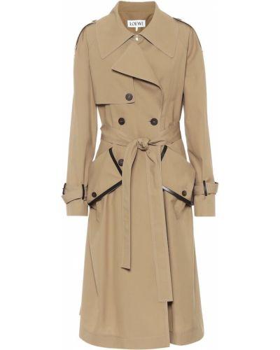 Бежевое кожаное пальто с опушкой Loewe