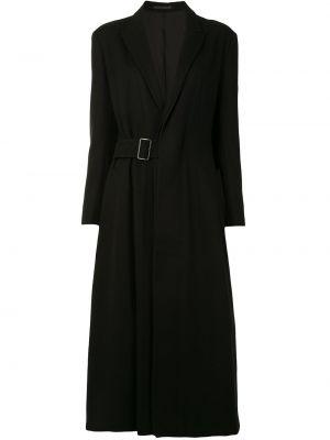 Czarny długi płaszcz wełniany rozkloszowany Yohji Yamamoto