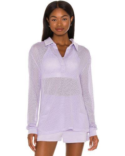 Сиреневый текстильный поло с перфорацией Alala