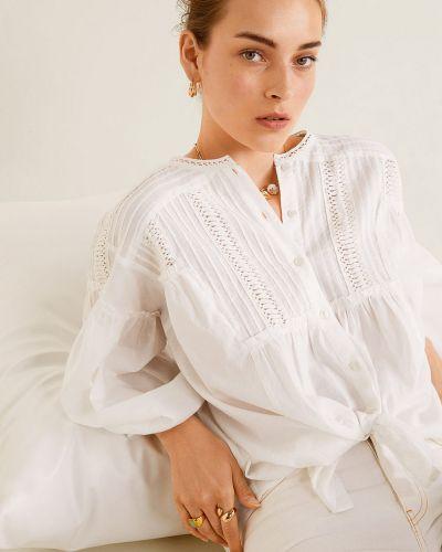 Блузка с длинным рукавом с вышивкой белая Mango