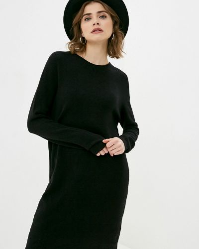 Вязаное трикотажное черное платье Zabaione