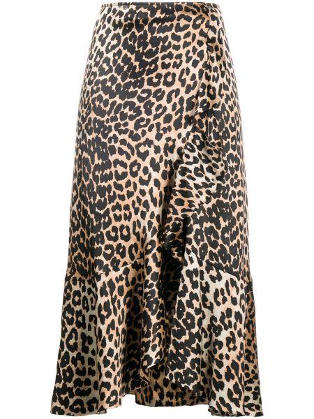 Шелковая коричневая юбка Ganni
