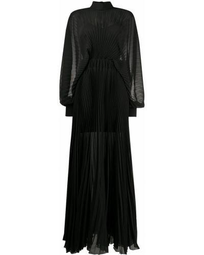 Плиссированное черное платье макси с длинными рукавами Patrizia Pepe