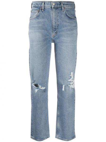 Bawełna bawełna niebieski jeansy do kostek z kieszeniami Agolde