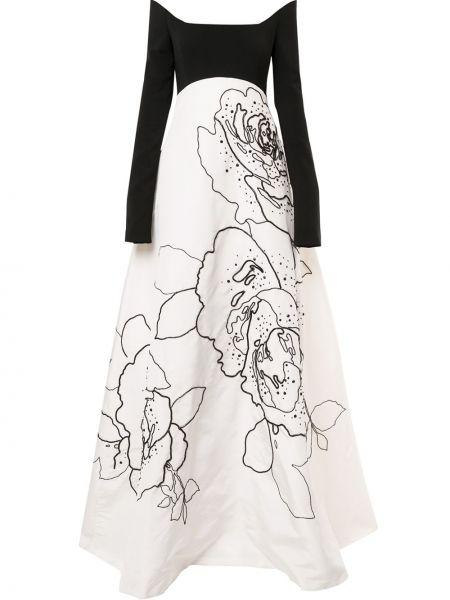 Z rękawami czarny jedwab długo sukienka wzór w kwiaty Carolina Herrera