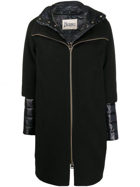 Czarny płaszcz wełniany z długimi rękawami Herno