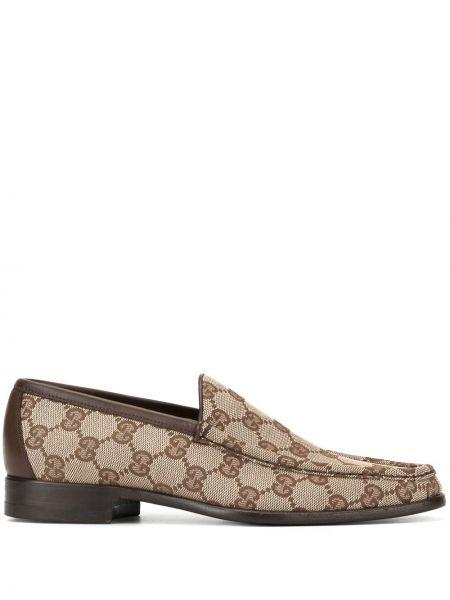 Кожаные коричневые лоферы на каблуке без застежки Gucci Pre-owned