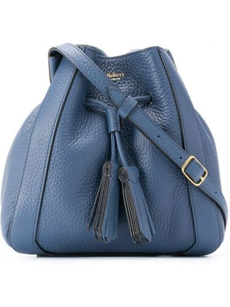 Niebieska torebka duża skórzana oversize Mulberry