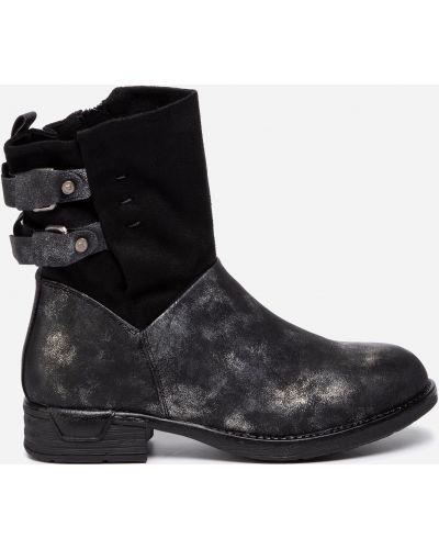 Полусапожки на каблуке - черные Jenny Fairy