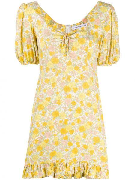 Желтое расклешенное платье мини на молнии с вырезом Faithfull The Brand