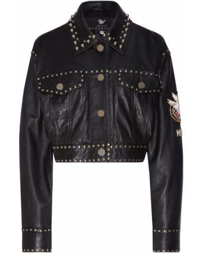 Черная кожаная короткая куртка оверсайз Maison Bohemique