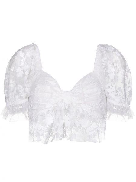 С рукавами белая нейлоновая кружевная блузка Loveshackfancy