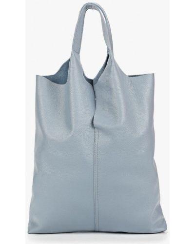 Кожаный сумка шоппер голубой Fiato