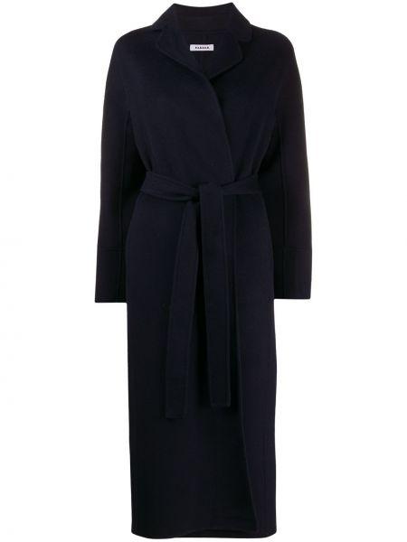 Синее шерстяное пальто классическое с поясом P.a.r.o.s.h.