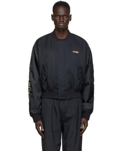 Черная нейлоновая длинная куртка с манжетами с вышивкой Reebok By Pyer Moss
