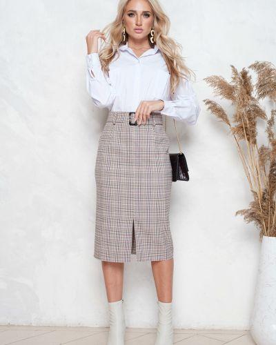 Прямая юбка с разрезом на молнии с поясом Leleya