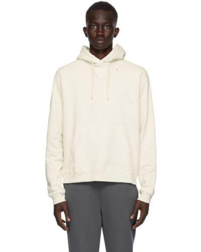 Biała bluza długa z kapturem z długimi rękawami John Elliott
