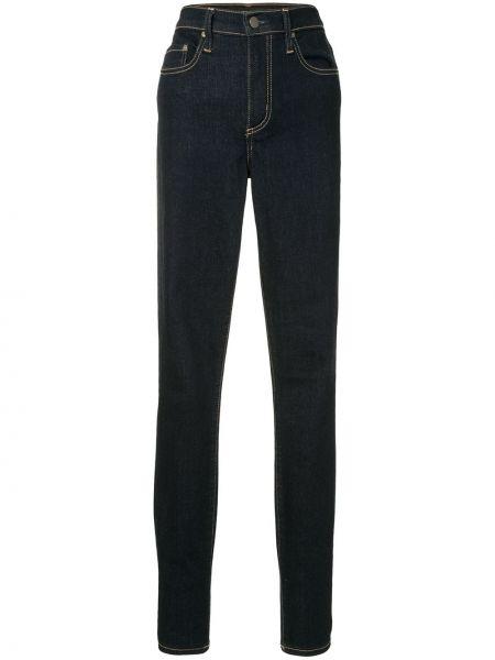 Хлопковые синие с завышенной талией джинсы-скинни Nobody Denim