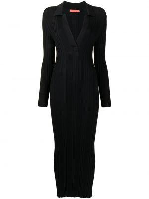 Приталенное черное платье макси с воротником Manning Cartell