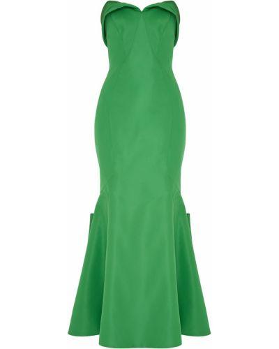 Расклешенное шелковое зеленое платье макси Zac Posen