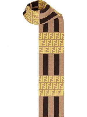 Żółty szalik wełniany Fendi