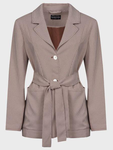 Коричневый пиджак с поясом на пуговицах The Fifth Label