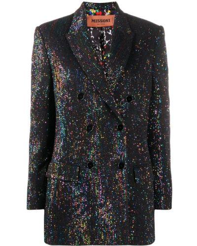 Черный удлиненный пиджак двубортный с карманами Missoni