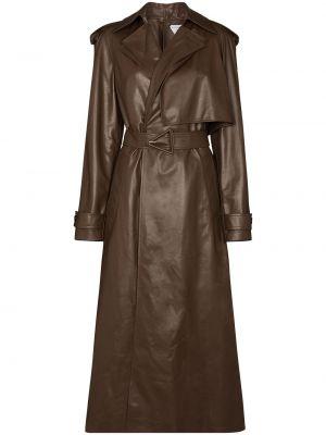 Коричневое кожаное длинное пальто с воротником Bottega Veneta