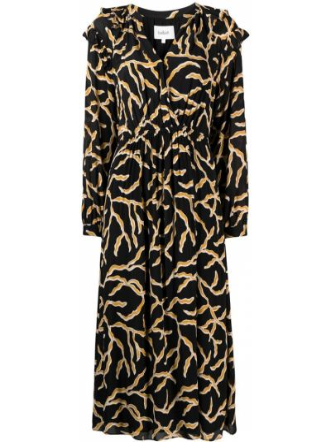 Платье миди с длинными рукавами - черное Ba&sh