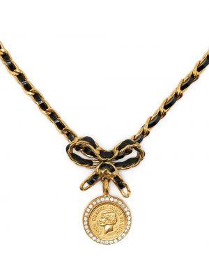 Czarny złoty medalion Chanel Pre-owned