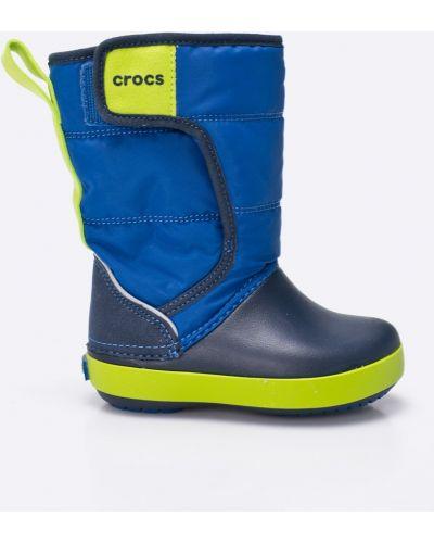 Синие сапоги текстильные Crocs