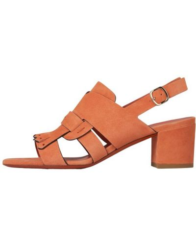 Pomarańczowe sandały na obcasie Santoni