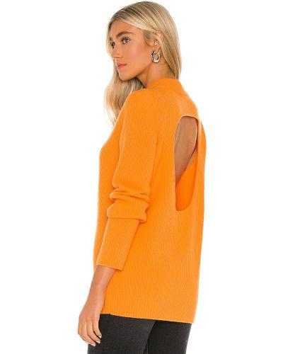 Otwarty pomarańczowy kaszmir pulower z cięciem Helmut Lang