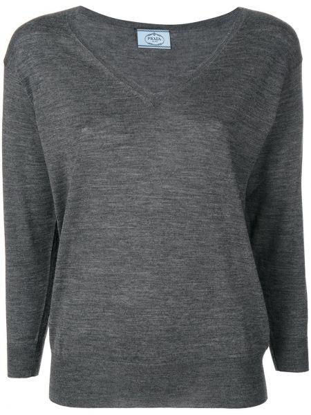 Sweter włoski z dekoltem w szpic Prada